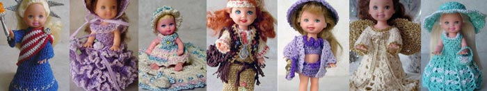 Images of 7 completed crochet dolls outfits from CrochetCraftsByHelga