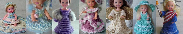 Images of 7 completed crochet dolls around the world outfits from CrochetCraftsByHelga