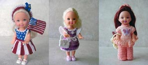 Images of 3 free completed crochet outfits from CrochetCraftsByHelga