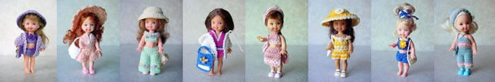Images of 8 completed crochet Fun in the Sun outfits from CrochetCraftsByHelga