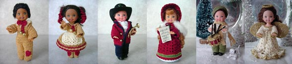 Images of 6 completed crochet holiday outfits from CrochetCraftsByHelga