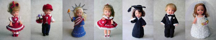 Images of 7 completed crochet Speciality outfits from CrochetCraftsByHelga