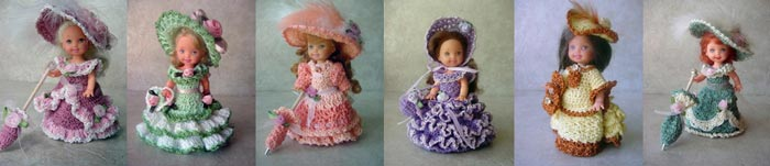 Images of 6 completed crochet victorian outfits from CrochetCraftsByHelga