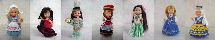 Images of 6 completed crochet dolls around the world outfits from CrochetCraftsByHelga